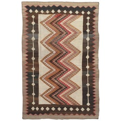 "Antique ""Eye Dazzler"" Navajo Carpet, Folk Rug, Handmade Wool, Beige, Red, Brown"