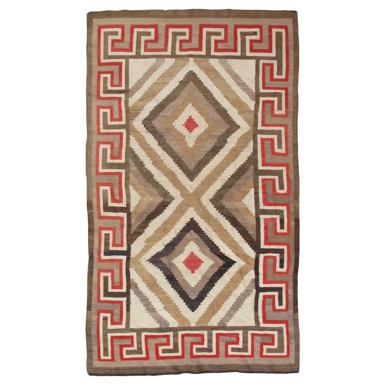 Antique Eye Dazzler Navajo Carpet, Folk Rug, Handmade Wool, Beige, Red, Tan