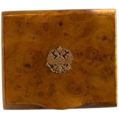 Antique Fabergé Gold Romanov Crest Birch Wood Cigarette Case