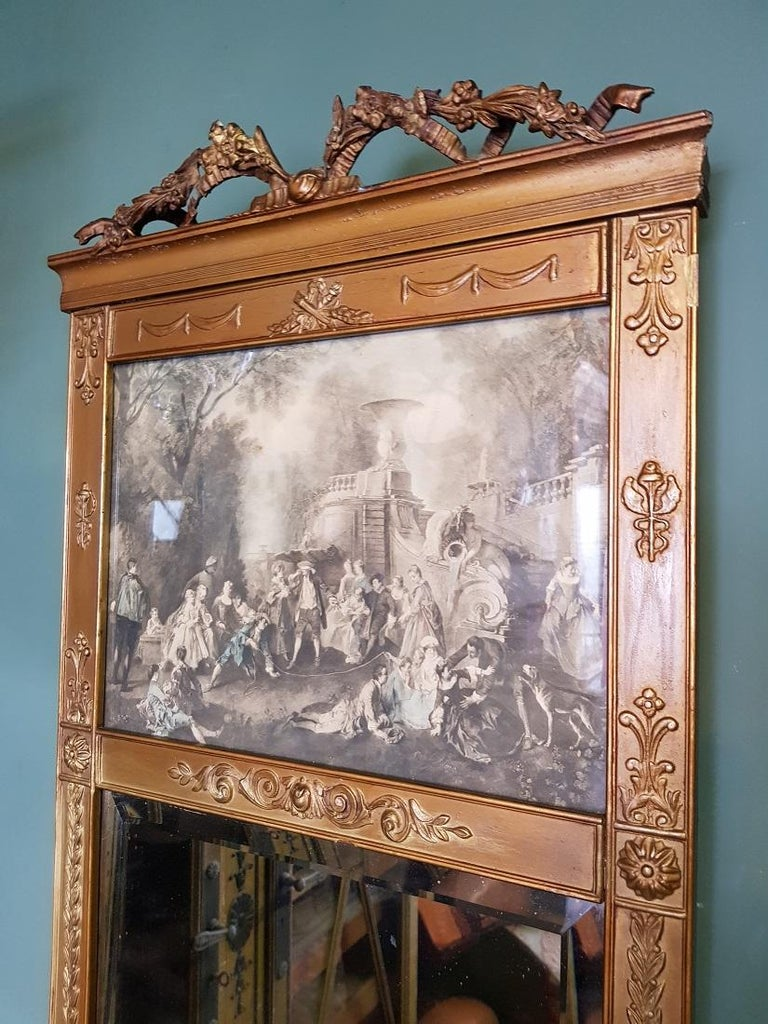 European Antique Faceted Mirror in a Gilded Neoclassical Plaster Frame For Sale