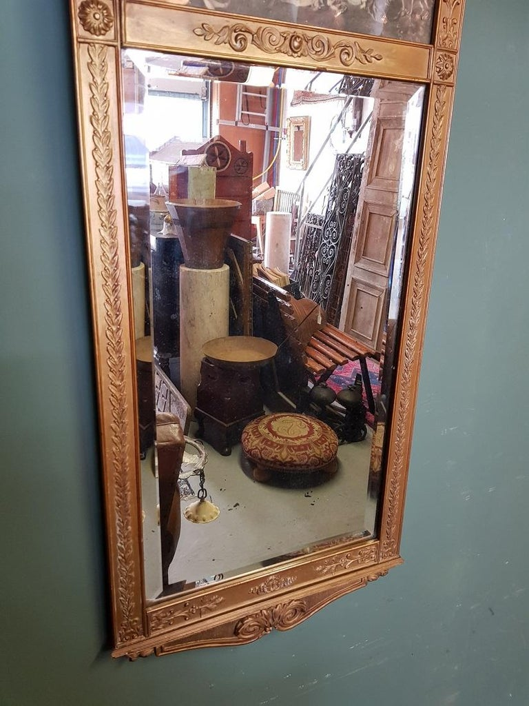 Gilt Antique Faceted Mirror in a Gilded Neoclassical Plaster Frame For Sale