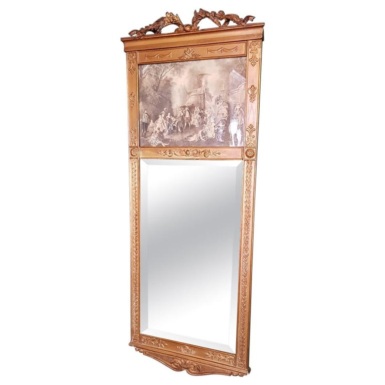 Antique Faceted Mirror in a Gilded Neoclassical Plaster Frame For Sale
