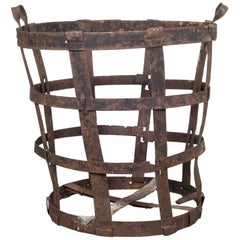 Antique Factory Steel Band Basket, c.1880-1920