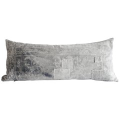 Antique Faded Gray and White Batik Lumbar Patchwork Pillow