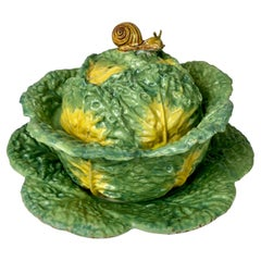 Antique Faience Cabbage Form Soup Tureen Hand-Painted in Brussels Circa 1765