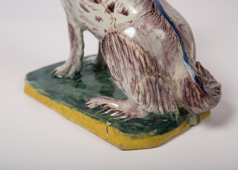 Antique Faience Spaniel Dog, 18th Century For Sale 5