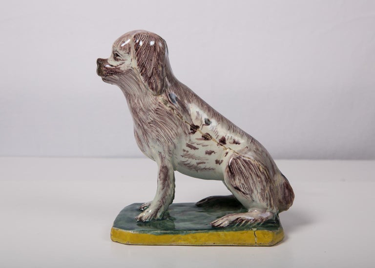 Antique Faience Spaniel Dog, 18th Century For Sale 6