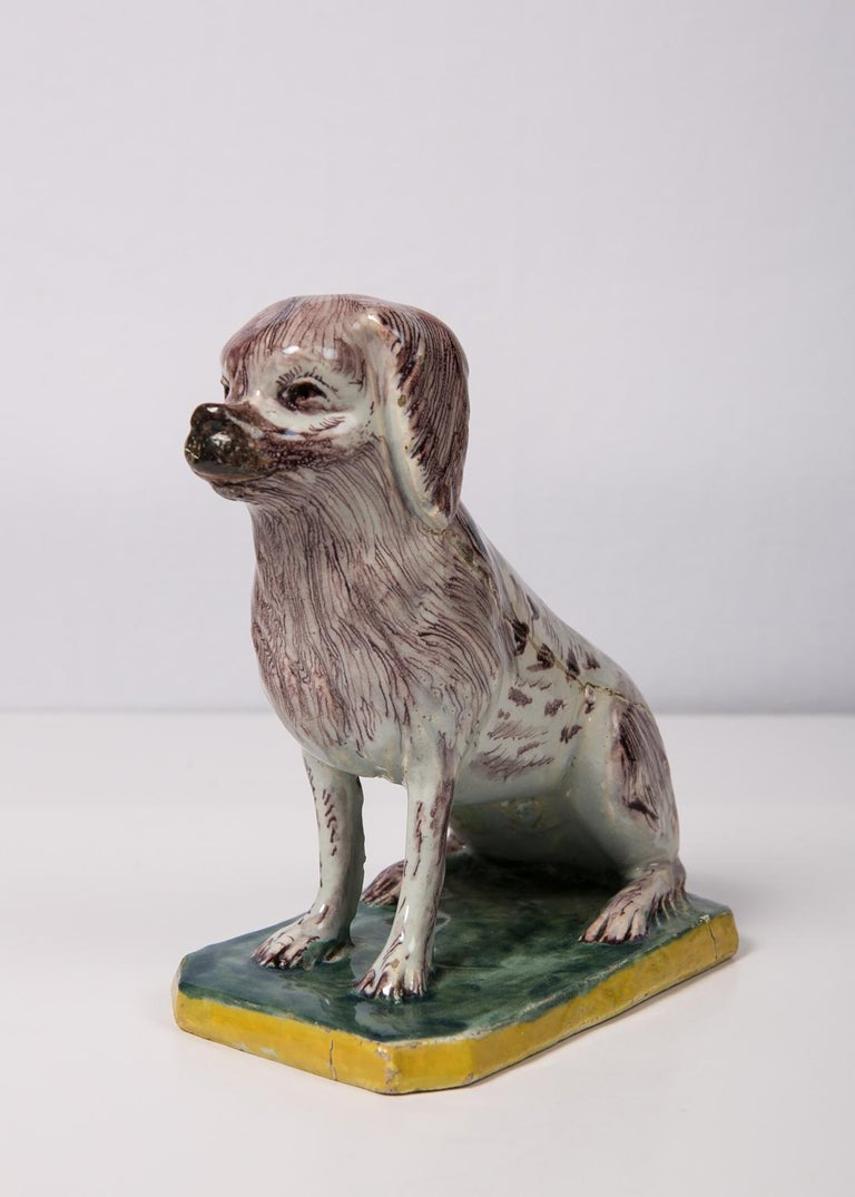 Antique Faience Spaniel Dog, 18th Century For Sale 7