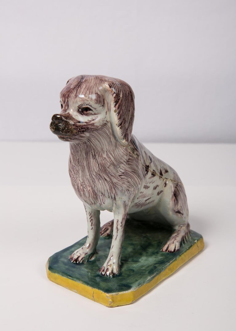 Rococo Antique Faience Spaniel Dog, 18th Century For Sale