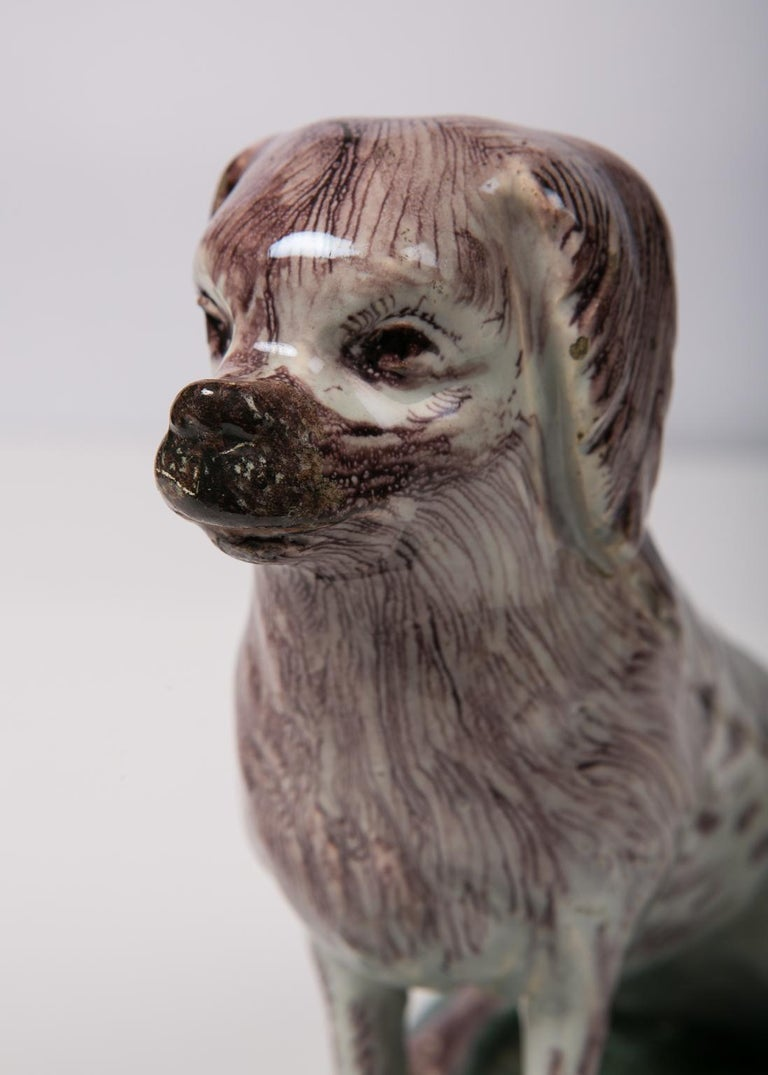 Hand-Painted Antique Faience Spaniel Dog, 18th Century For Sale