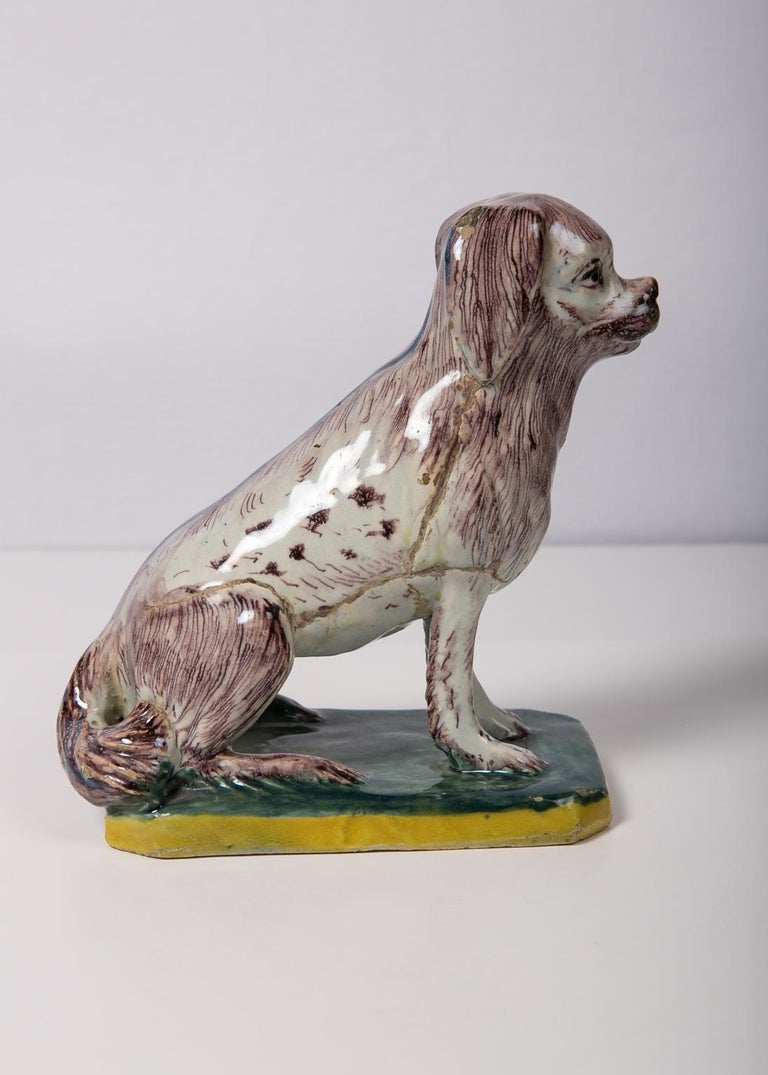 Antique Faience Spaniel Dog, 18th Century For Sale 1