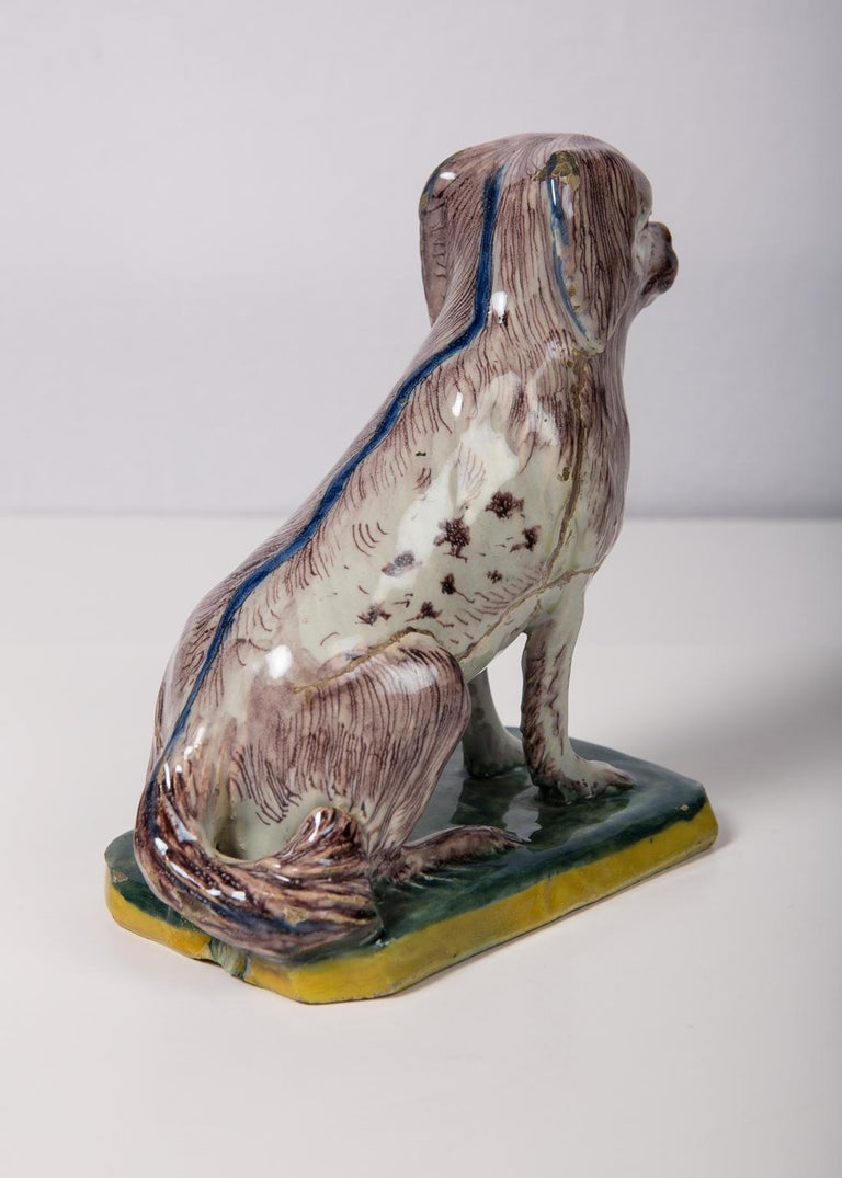 Antique Faience Spaniel Dog, 18th Century For Sale 3
