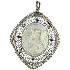 Antique Fairy Angel Pendant Rose Cut Diamond Sapphire Platinum Mother of Pearl