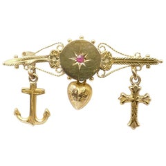 """Antique """"Faith Hope & Charity"""" Brooch Featuring a Ruby"""