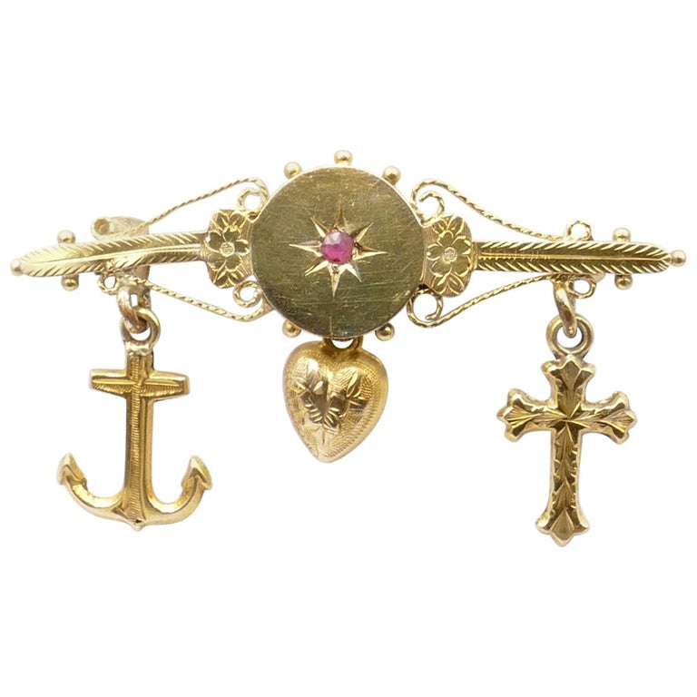 """Antique """"Faith Hope & Charity"""" Brooch Featuring a Ruby For Sale"""