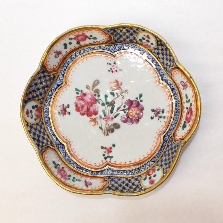 Antique Famille Rose Chinese Export Porcelain Bowl or Dish For Sale 1