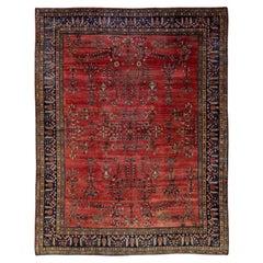 Antique Farahan Handmade Floral Red Persian Wool Rug
