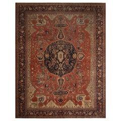 Antique Farahan Medallion Beige-Brown and Orange Wool Persian Rug