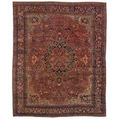 Antique Farahan Sarouk Carpet, Bold Colors, Bold Palette, Center Medallion