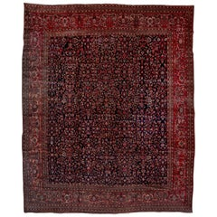 Antique Farahan Sarouk Carpet, Dark Rich Colors, Navy All-Over Field Red Borders