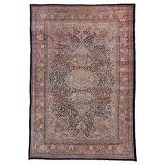 Antique Farahan Sarouk Carpet, Navy and Ivory Field, Salmon Pink Borders
