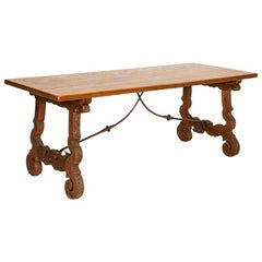 Antique Farm House Dining Table with Carved Legs and Iron Stretcher