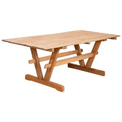 Antique Farm Table Trestle Kitchen Dining Table