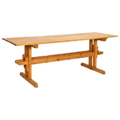 Antique Farm Table with Trestle Base from Hungary