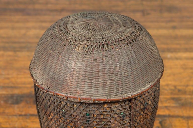 Philippine Antique Farmer's Grain Basket with Iridescent Motifs and Weathered Appearance For Sale