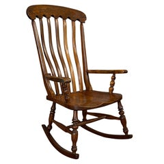 Antique Farmhouse Rocking Chair, English, Elm, Beech, Seat, Victorian circa 1900