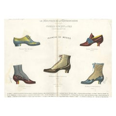 Antique Fashion Print of Shoe Designs Published in July, 1888