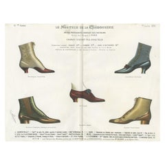 Antique Fashion Print of Shoe Designs Published in July, 1890
