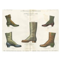 Antique Fashion Print of Shoe Designs Published in October, 1887