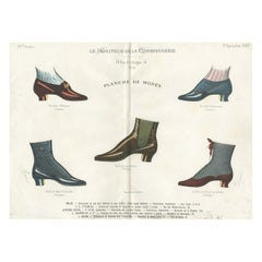 Antique Fashion Print of Shoe Designs Published in September, 1888