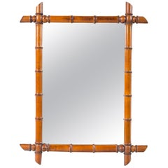 Antique Faux Bamboo Mirror, France, Early 20th Century