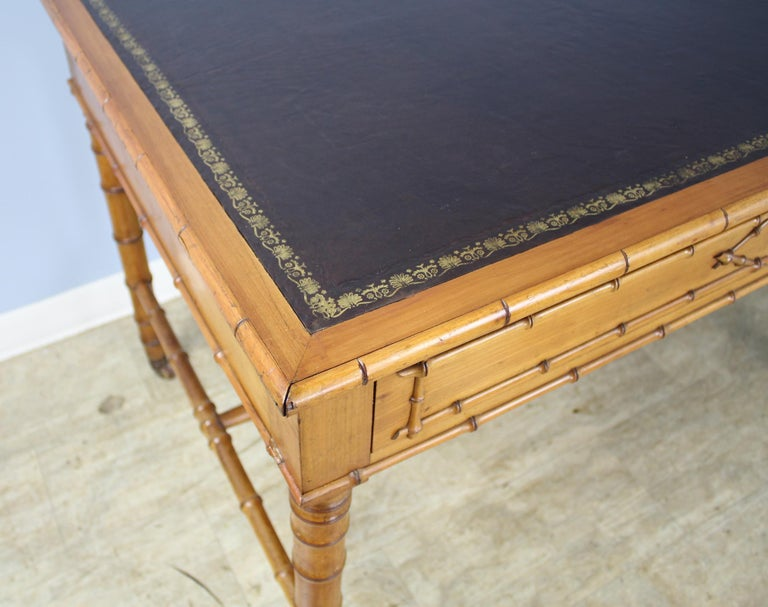 Antique Faux Bamboo Writing Table or Desk For Sale 4