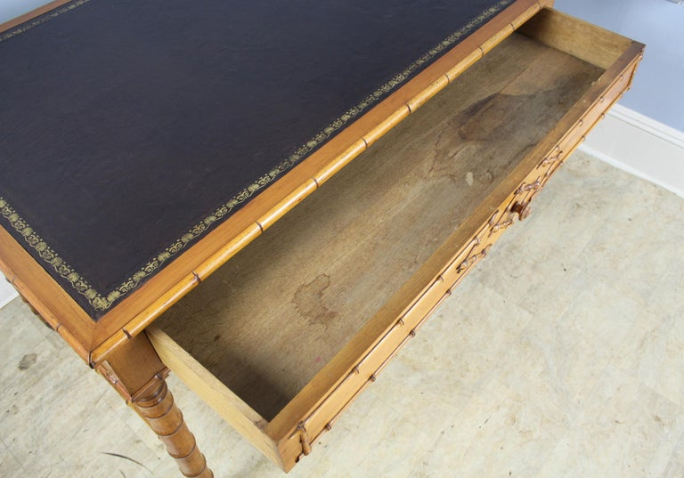 Antique Faux Bamboo Writing Table or Desk For Sale 5