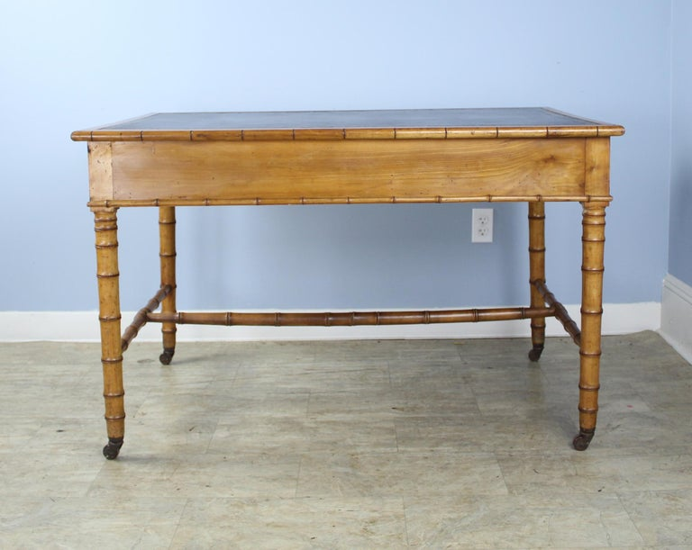 Antique Faux Bamboo Writing Table or Desk For Sale 6