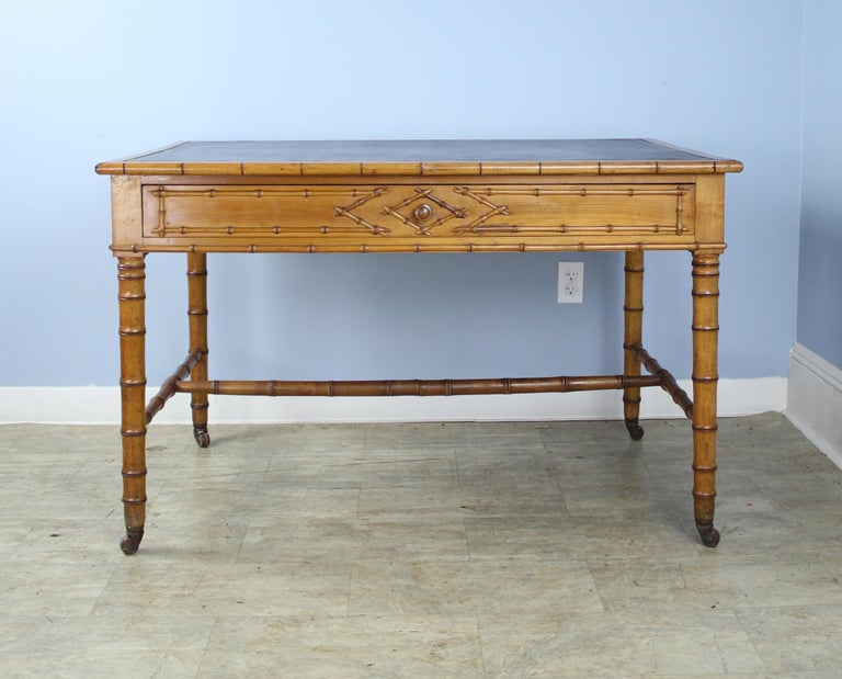 French Antique Faux Bamboo Writing Table or Desk For Sale