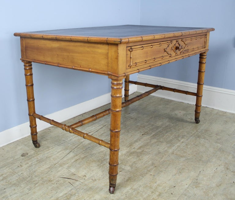 Antique Faux Bamboo Writing Table or Desk In Good Condition For Sale In Port Chester, NY