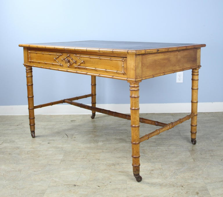 19th Century Antique Faux Bamboo Writing Table or Desk For Sale