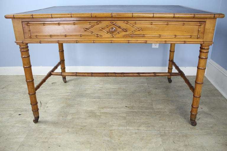 Wood Antique Faux Bamboo Writing Table or Desk For Sale