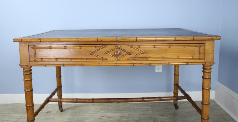 Antique Faux Bamboo Writing Table or Desk For Sale 1