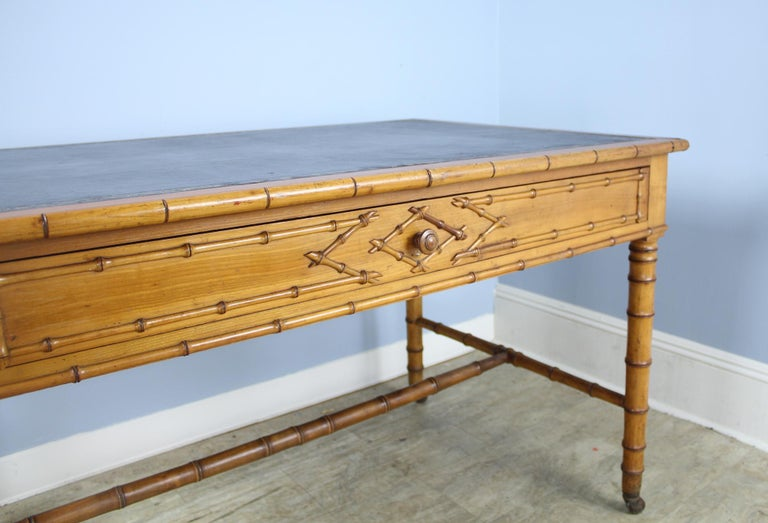 Antique Faux Bamboo Writing Table or Desk For Sale 2