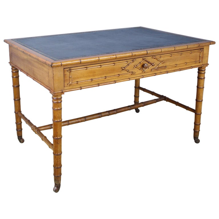 Antique Faux Bamboo Writing Table or Desk For Sale