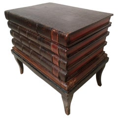 Antique Faux Book Stack End Table, France, 19th Century