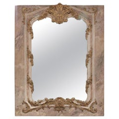 Antique Faux Marble and Giltwood Trumeau