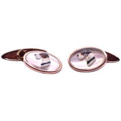 Antique Faux Resin Mould Dog Cufflinks, circa 1920