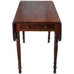Antique Federal American Mahogany Drop Leaf Dining Breakfast Table Inlaid