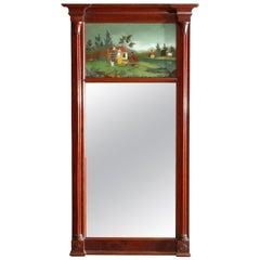 Antique Federal Carved Mahogany Églomisé Trumeau Wall Mirror, circa 1830